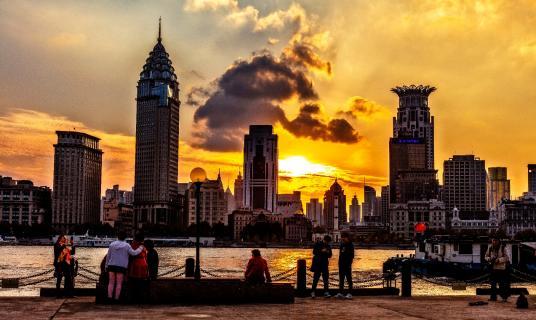 Solnedgang over Shanghai